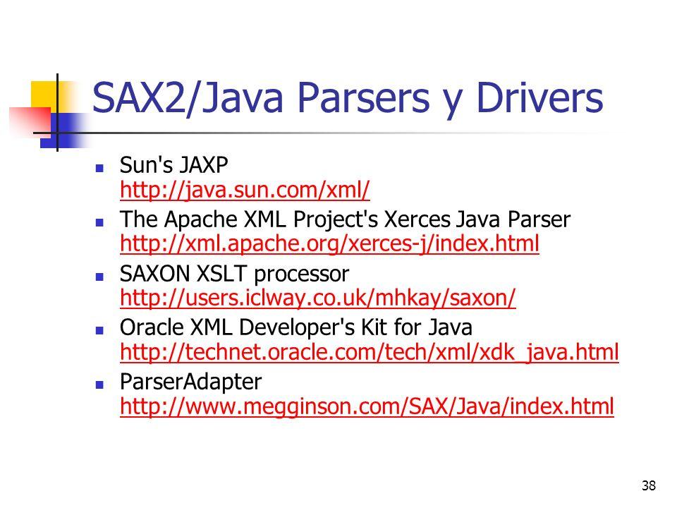 38 SAX2/Java Parsers y Drivers Sun s JAXP http://java.sun.com/xml/ http://java.sun.com/xml/ The Apache XML Project s Xerces Java Parser http://xml.apache.org/xerces-j/index.html http://xml.apache.org/xerces-j/index.html SAXON XSLT processor http://users.iclway.co.uk/mhkay/saxon/ http://users.iclway.co.uk/mhkay/saxon/ Oracle XML Developer s Kit for Java http://technet.oracle.com/tech/xml/xdk_java.html http://technet.oracle.com/tech/xml/xdk_java.html ParserAdapter http://www.megginson.com/SAX/Java/index.html http://www.megginson.com/SAX/Java/index.html