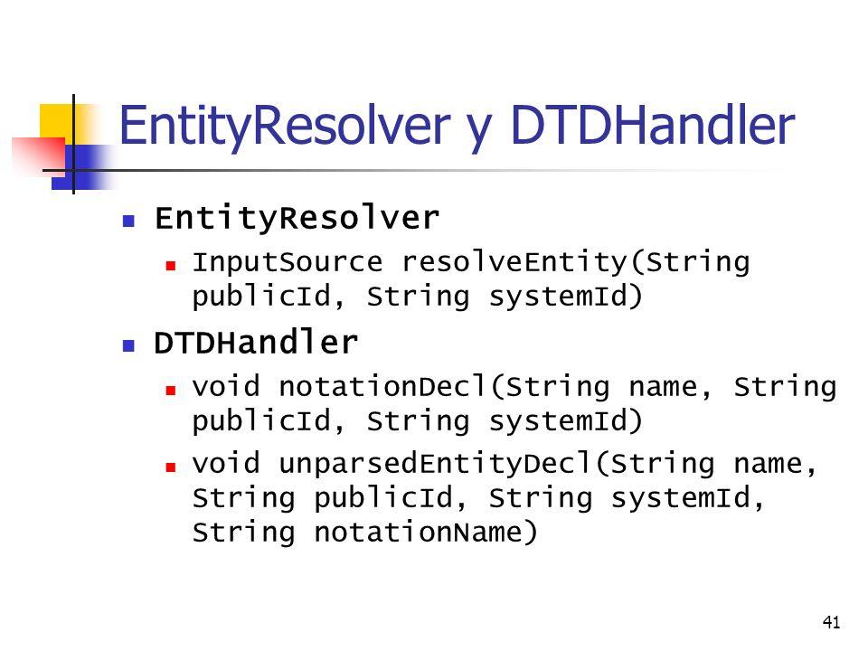 41 EntityResolver y DTDHandler EntityResolver InputSource resolveEntity(String publicId, String systemId) DTDHandler void notationDecl(String name, St