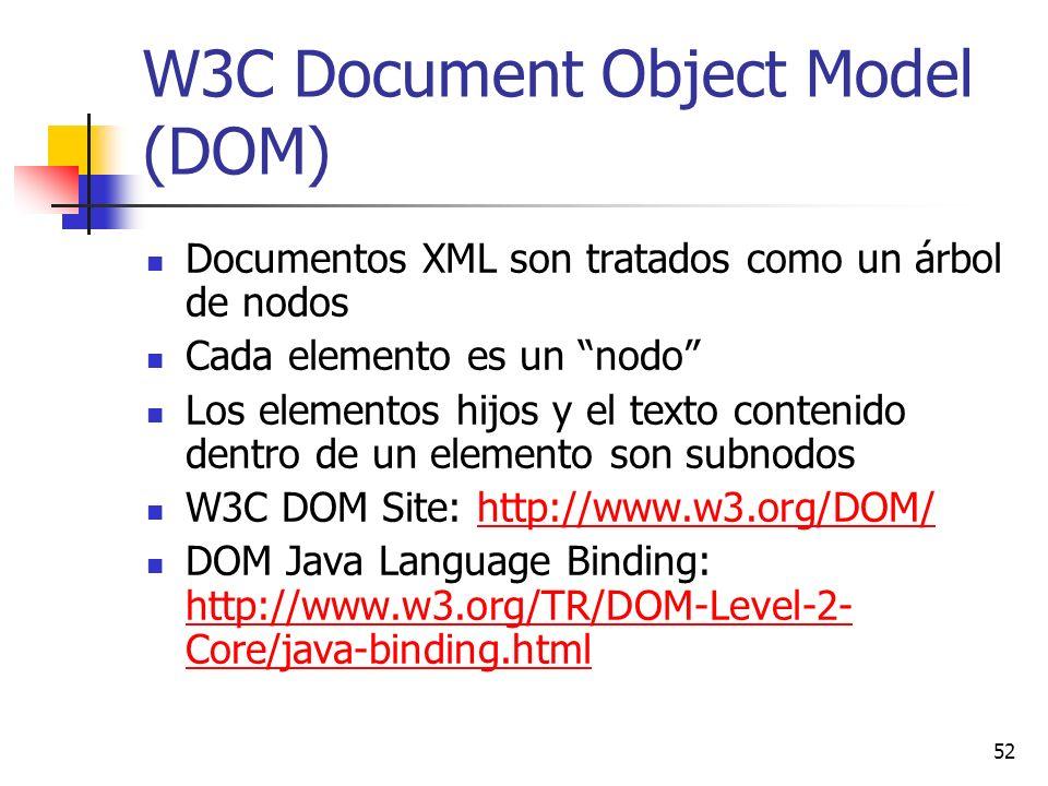 52 W3C Document Object Model (DOM) Documentos XML son tratados como un árbol de nodos Cada elemento es un nodo Los elementos hijos y el texto contenido dentro de un elemento son subnodos W3C DOM Site: http://www.w3.org/DOM/http://www.w3.org/DOM/ DOM Java Language Binding: http://www.w3.org/TR/DOM-Level-2- Core/java-binding.html http://www.w3.org/TR/DOM-Level-2- Core/java-binding.html