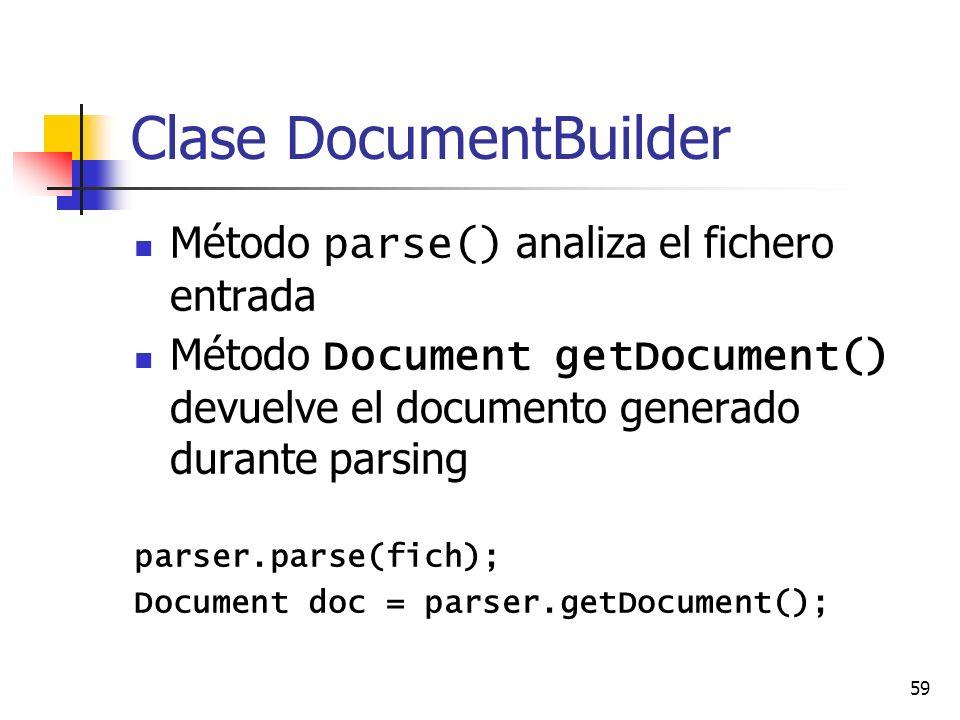 59 Clase DocumentBuilder Método parse() analiza el fichero entrada Método Document getDocument() devuelve el documento generado durante parsing parser