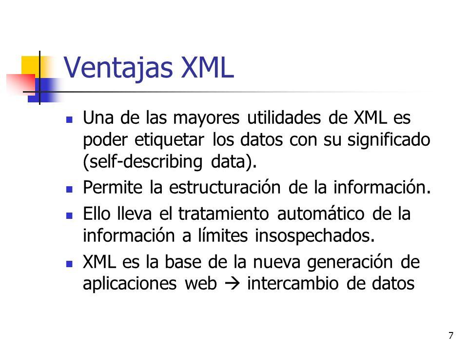 7 Ventajas XML Una de las mayores utilidades de XML es poder etiquetar los datos con su significado (self-describing data). Permite la estructuración