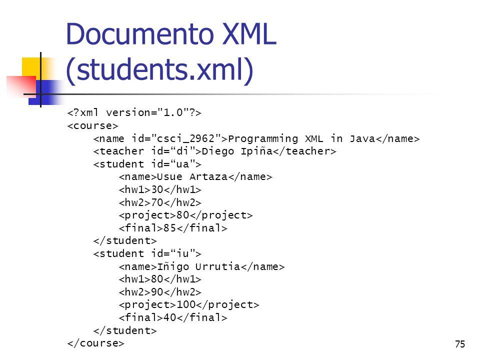 75 Documento XML (students.xml) Programming XML in Java Diego Ipiña Usue Artaza 30 70 80 85 Iñigo Urrutia 80 90 100 40