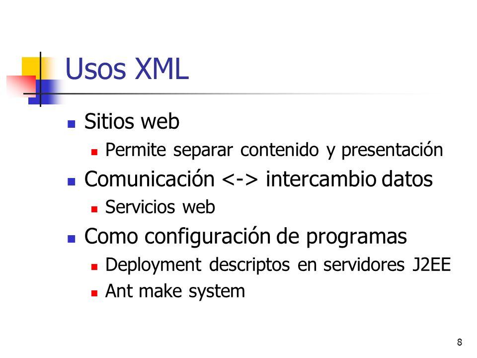 59 Clase DocumentBuilder Método parse() analiza el fichero entrada Método Document getDocument() devuelve el documento generado durante parsing parser.parse(fich); Document doc = parser.getDocument();