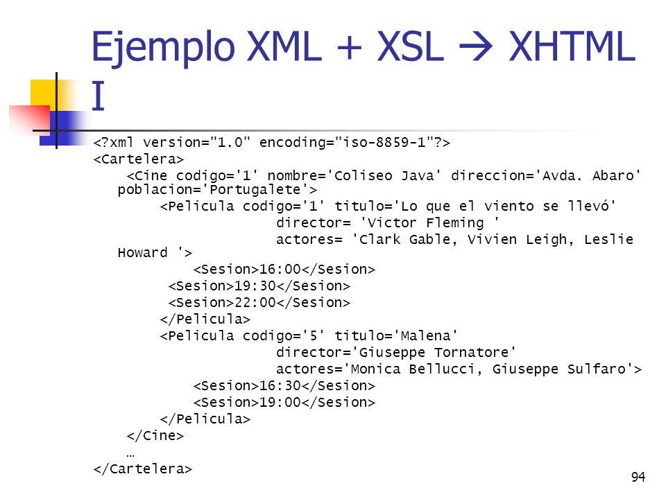 94 Ejemplo XML + XSL XHTML I <Pelicula codigo='1' titulo='Lo que el viento se llevó' director= 'Victor Fleming ' actores= 'Clark Gable, Vivien Leigh,