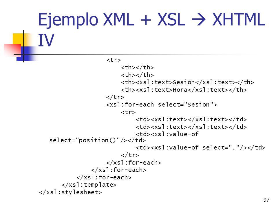 97 Ejemplo XML + XSL XHTML IV Sesión Hora