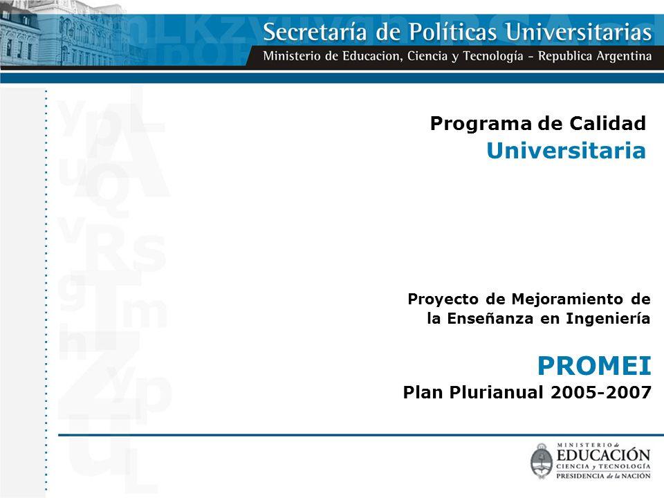 Programa de Calidad Universitaria Proyecto de Mejoramiento de la Enseñanza en Ingeniería PROMEI Plan Plurianual 2005-2007