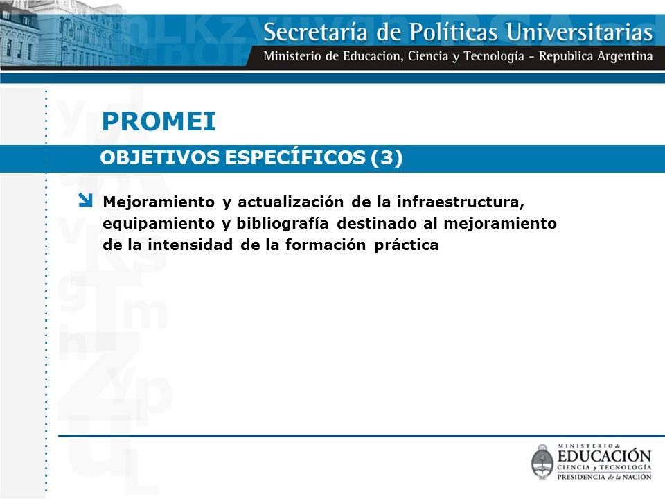 OBJETIVOS ESPECÍFICOS (3) PROMEI Mejoramiento y actualización de la infraestructura, equipamiento y bibliografía destinado al mejoramiento de la intensidad de la formación práctica