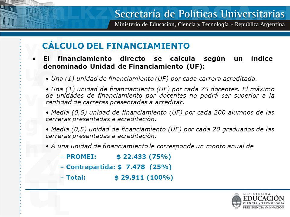 CÁLCULO DEL FINANCIAMIENTO El financiamiento directo se calcula según un índice denominado Unidad de Financiamiento (UF): Una (1) unidad de financiamiento (UF) por cada carrera acreditada.