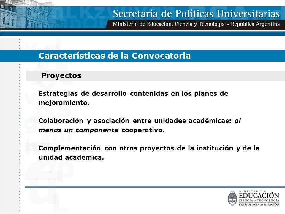 Proyectos Características de la Convocatoria Estrategias de desarrollo contenidas en los planes de mejoramiento.