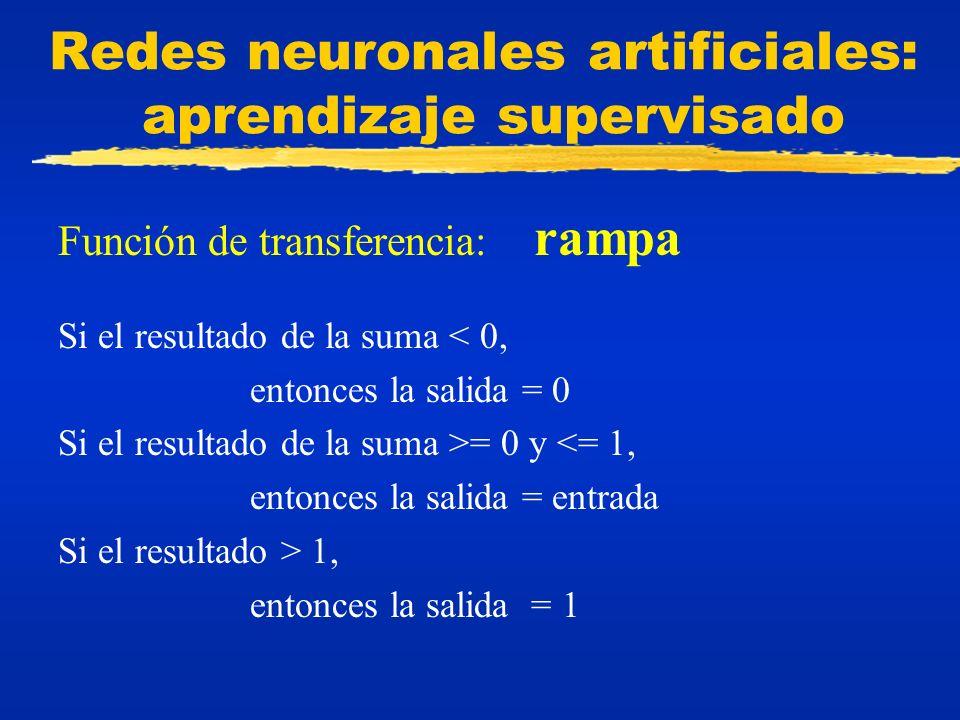 Redes neuronales artificiales: aprendizaje supervisado Función de transferencia: rampa Si el resultado de la suma < 0, entonces la salida = 0 Si el re