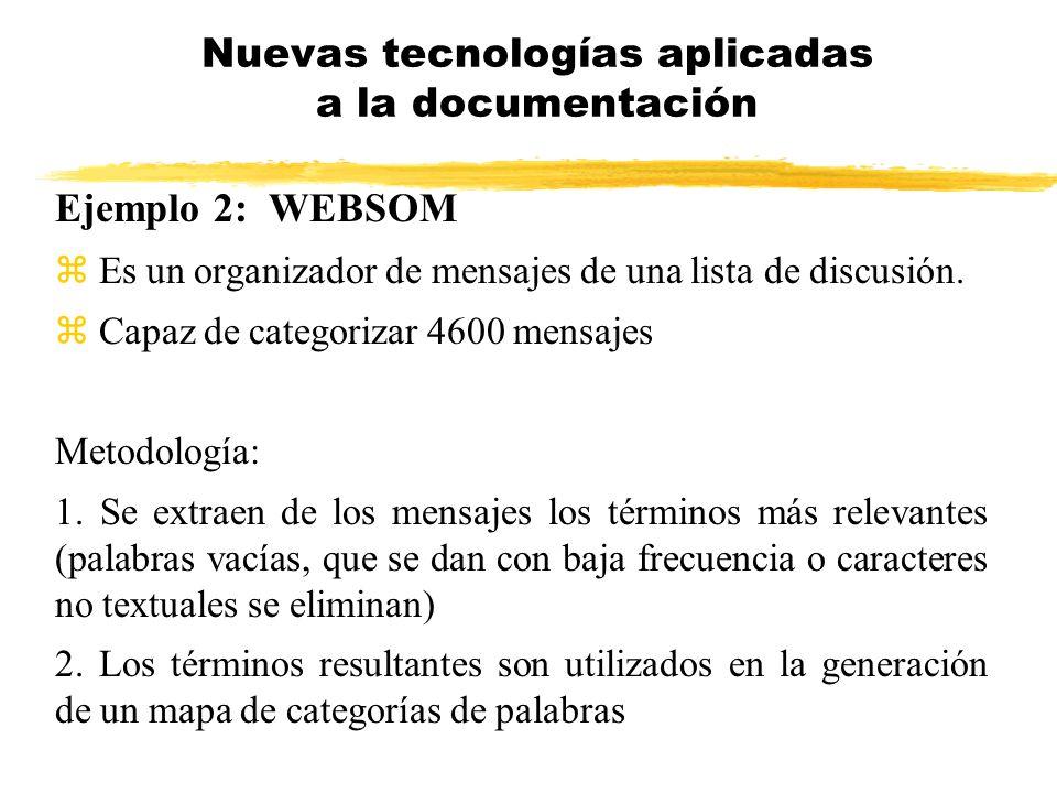 Ejemplo 2: WEBSOM z Es un organizador de mensajes de una lista de discusión. z Capaz de categorizar 4600 mensajes Metodología: 1. Se extraen de los me