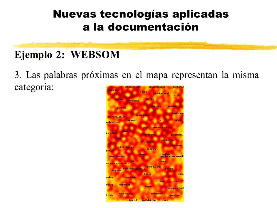 Ejemplo 2: WEBSOM 3. Las palabras próximas en el mapa representan la misma categoría: Nuevas tecnologías aplicadas a la documentación