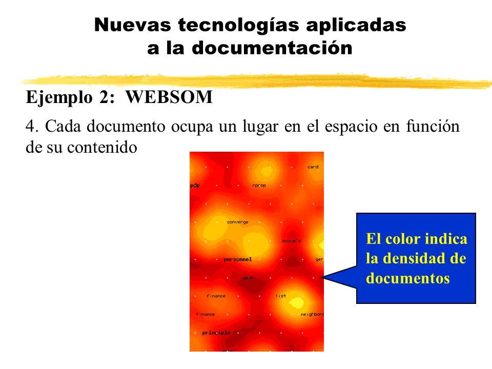 Ejemplo 2: WEBSOM 4. Cada documento ocupa un lugar en el espacio en función de su contenido Nuevas tecnologías aplicadas a la documentación El color i