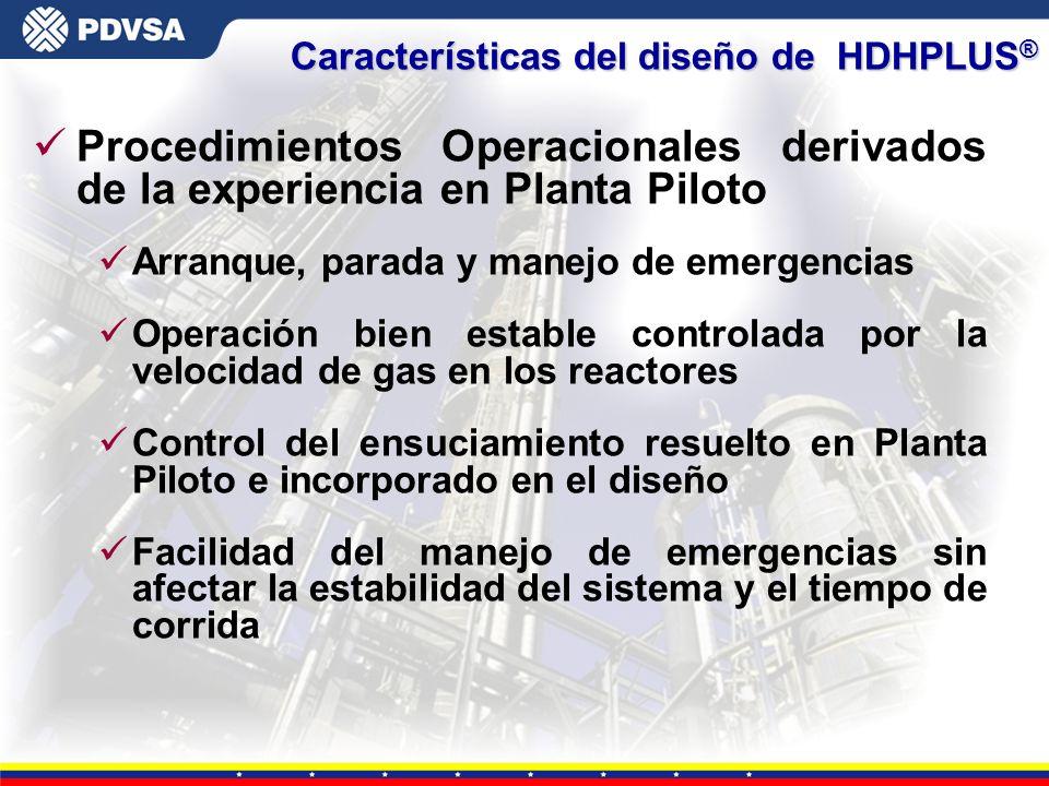 Gerencia General de Tecnología Características del diseño de HDHPLUS ® üProcedimientos Operacionales derivados de la experiencia en Planta Piloto üArr