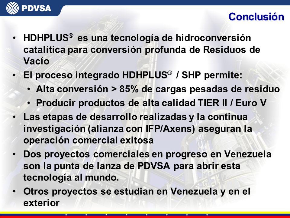Gerencia General de Tecnología HDHPLUS ® es una tecnología de hidroconversión catalítica para conversión profunda de Residuos de Vacío El proceso inte