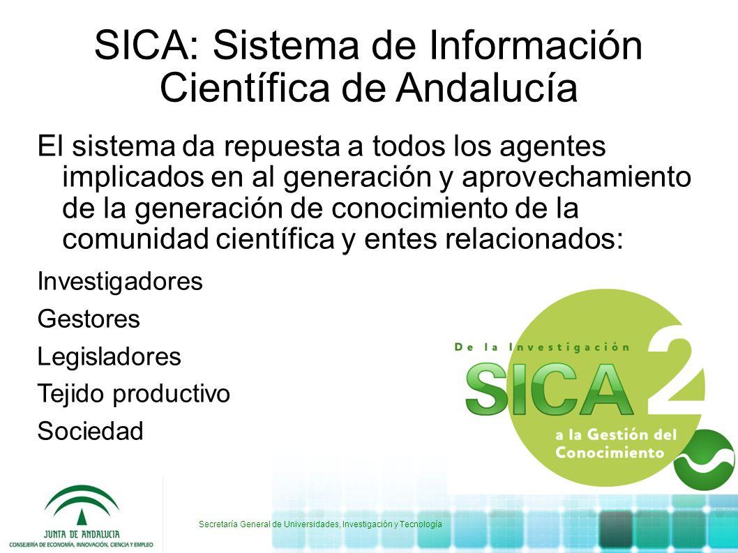 SICA: Sistema de Información Científica de Andalucía El sistema da repuesta a todos los agentes implicados en al generación y aprovechamiento de la ge