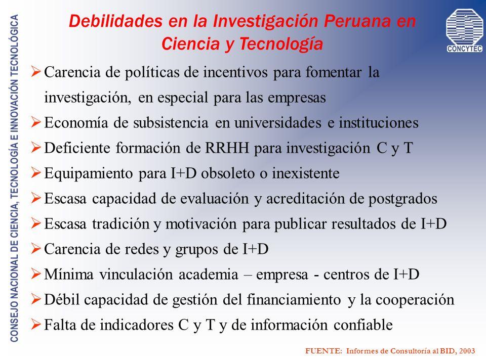 Debilidades en la Investigación Peruana en Ciencia y Tecnología Carencia de políticas de incentivos para fomentar la investigación, en especial para l