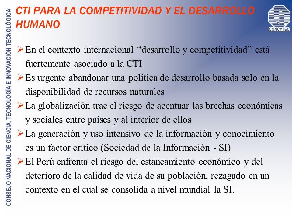 CTI PARA LA COMPETITIVIDAD Y EL DESARROLLO HUMANO En el contexto internacional desarrollo y competitividad está fuertemente asociado a la CTI Es urgen