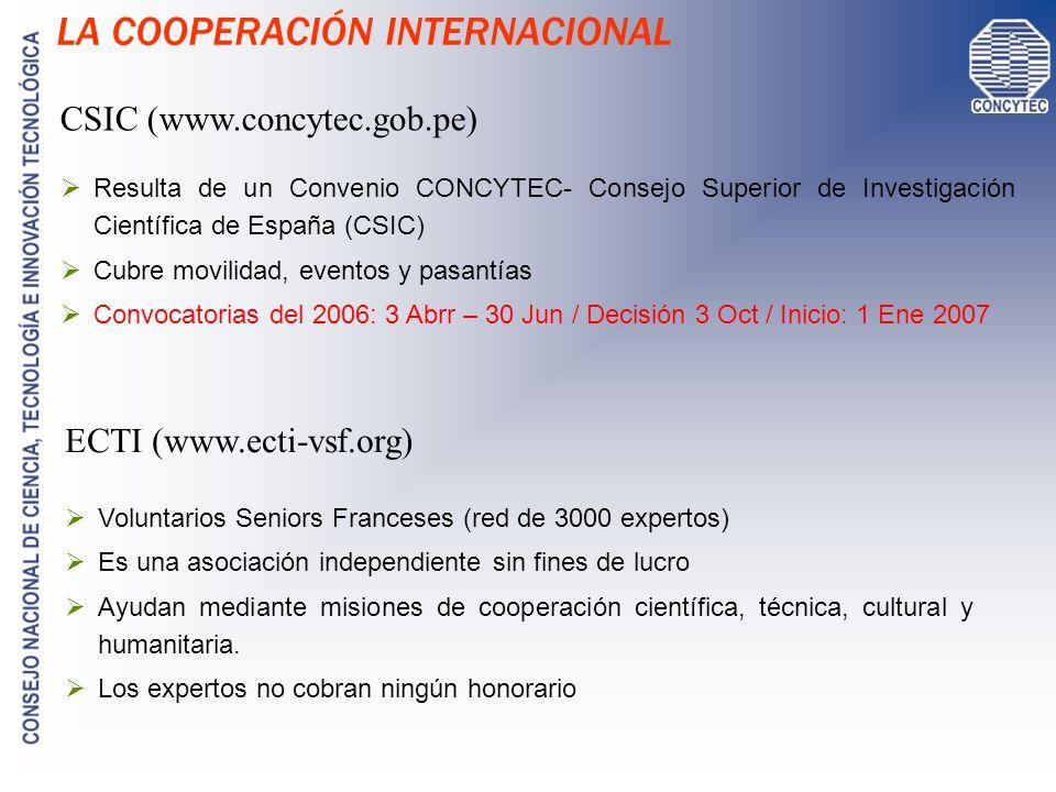 LA COOPERACIÓN INTERNACIONAL ECTI (www.ecti-vsf.org) CSIC (www.concytec.gob.pe) Voluntarios Seniors Franceses (red de 3000 expertos) Es una asociación