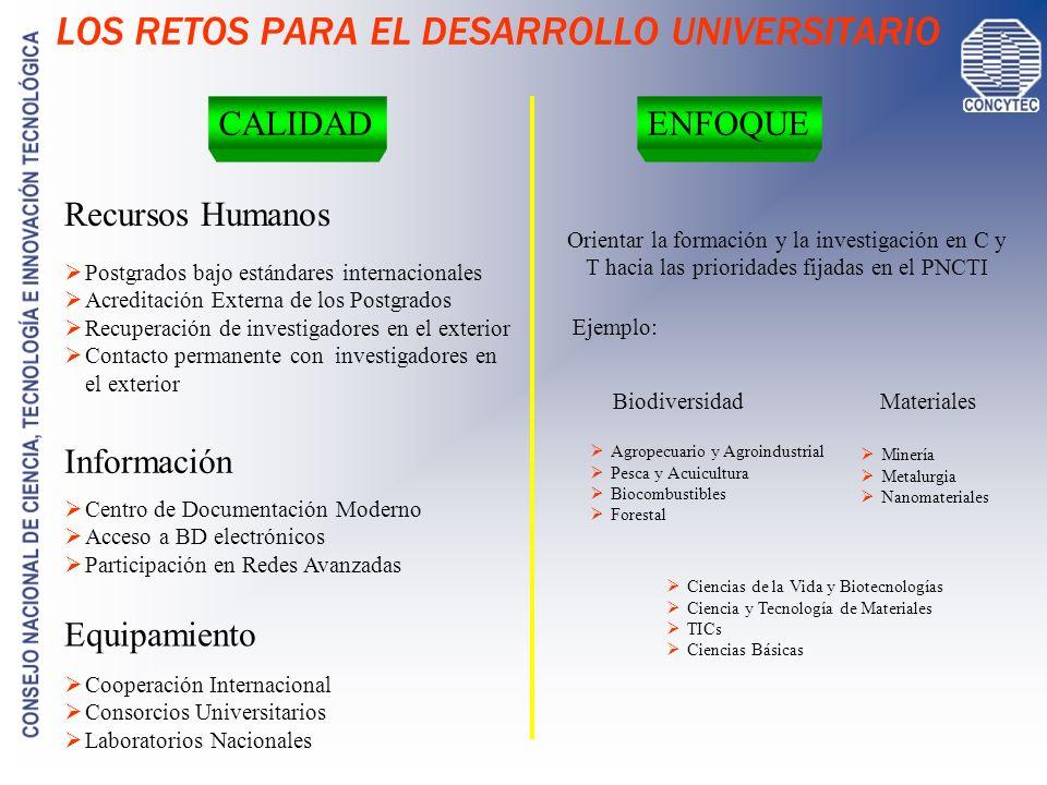 LOS RETOS PARA EL DESARROLLO UNIVERSITARIO CALIDADENFOQUE Equipamiento Recursos Humanos Cooperación Internacional Consorcios Universitarios Laboratori