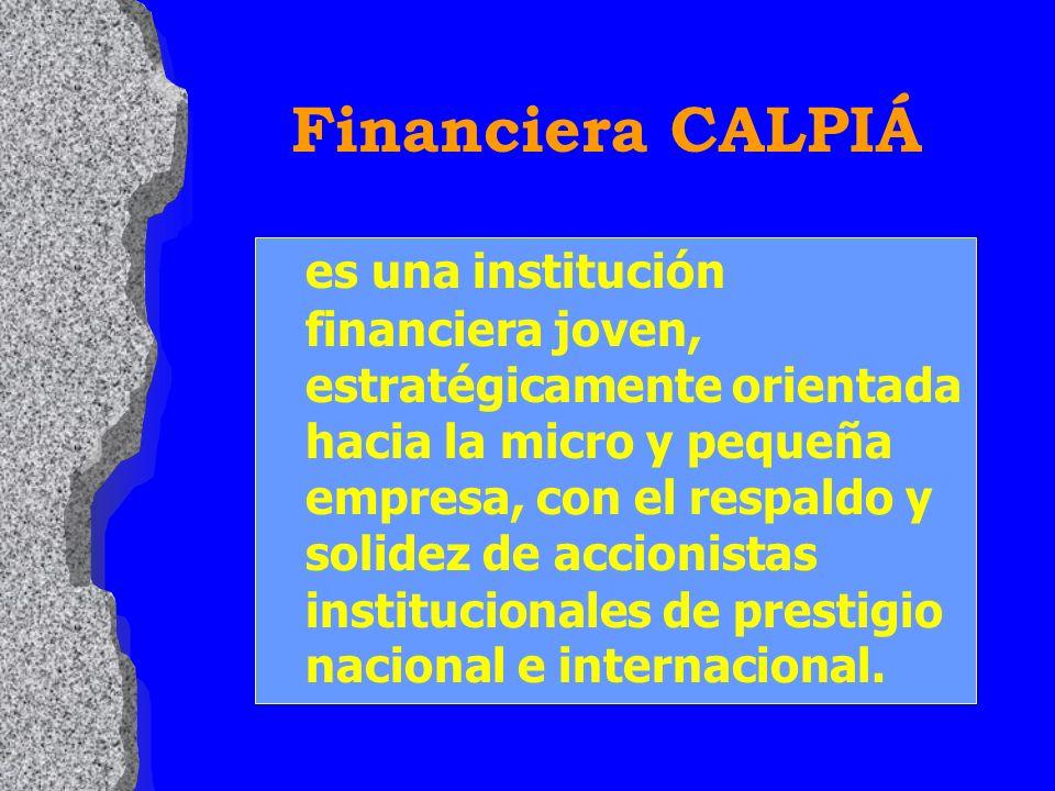 es una institución financiera joven, estratégicamente orientada hacia la micro y pequeña empresa, con el respaldo y solidez de accionistas institucionales de prestigio nacional e internacional.