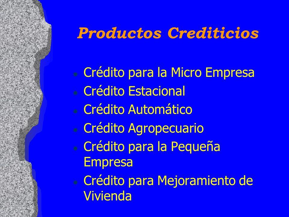 Productos Crediticios l Crédito para la Micro Empresa l Crédito Estacional l Crédito Automático l Crédito Agropecuario l Crédito para la Pequeña Empre