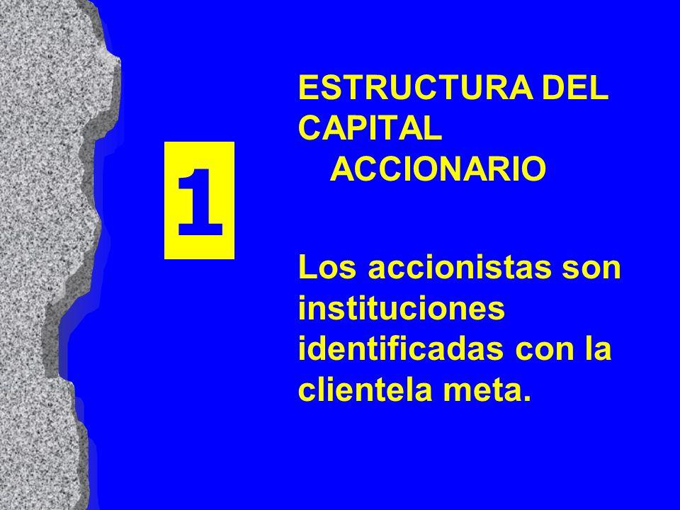 ESTRUCTURA DEL CAPITAL ACCIONARIO Los accionistas son instituciones identificadas con la clientela meta. 1