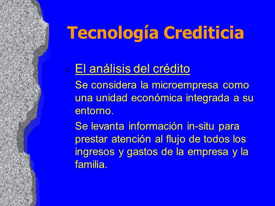 Tecnología Crediticia l El análisis del crédito Se considera la microempresa como una unidad económica integrada a su entorno. Se levanta información