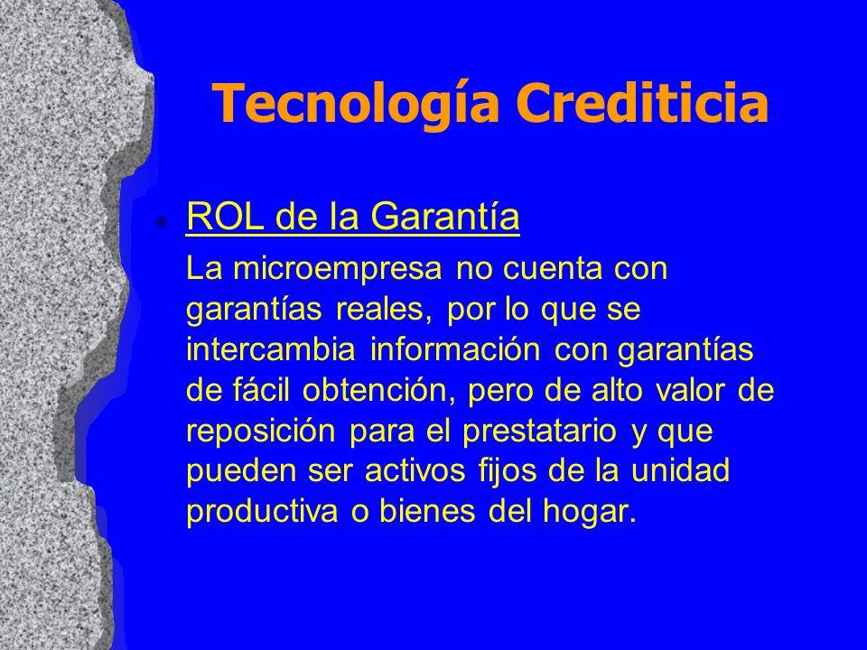 l ROL de la Garantía La microempresa no cuenta con garantías reales, por lo que se intercambia información con garantías de fácil obtención, pero de a