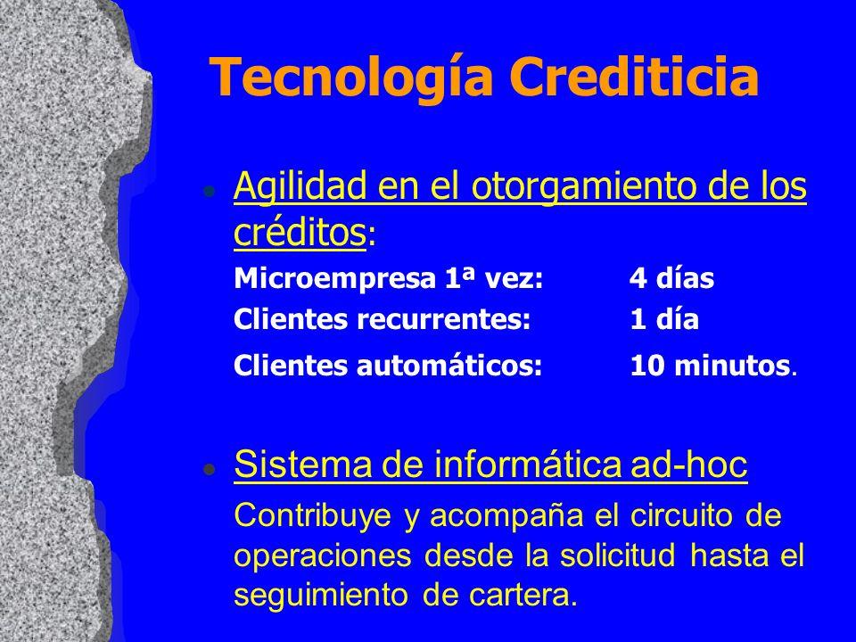 l Agilidad en el otorgamiento de los créditos : Microempresa 1ª vez:4 días Clientes recurrentes:1 día Clientes automáticos:10 minutos. l Sistema de in