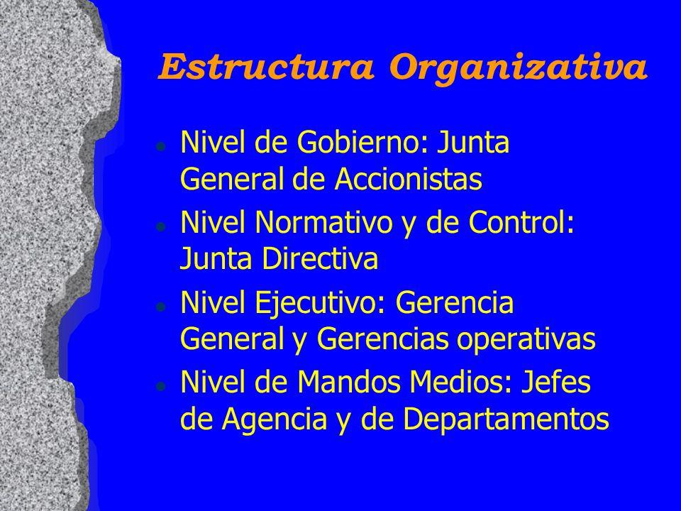 Estructura Organizativa l Nivel de Gobierno: Junta General de Accionistas l Nivel Normativo y de Control: Junta Directiva l Nivel Ejecutivo: Gerencia General y Gerencias operativas l Nivel de Mandos Medios: Jefes de Agencia y de Departamentos