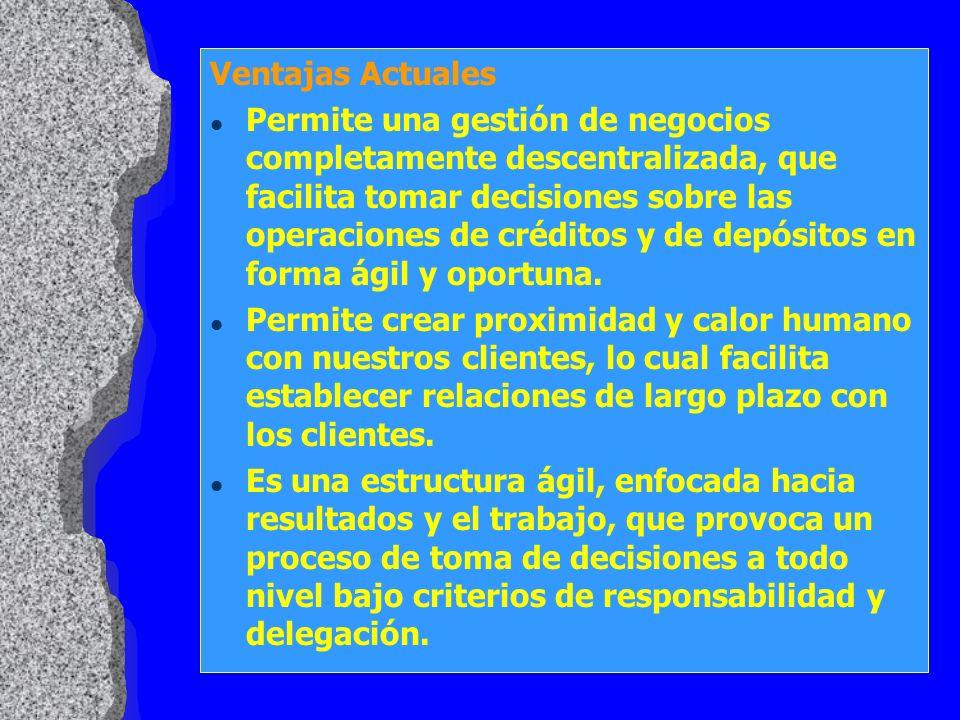 Ventajas Actuales l Permite una gestión de negocios completamente descentralizada, que facilita tomar decisiones sobre las operaciones de créditos y d