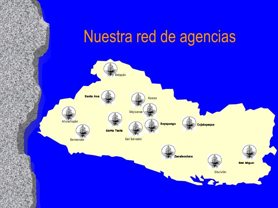 Nuestra red de agencias San Salvador Sonsonate Metapán Apopa Ahuachapán Mejicanos Usulután