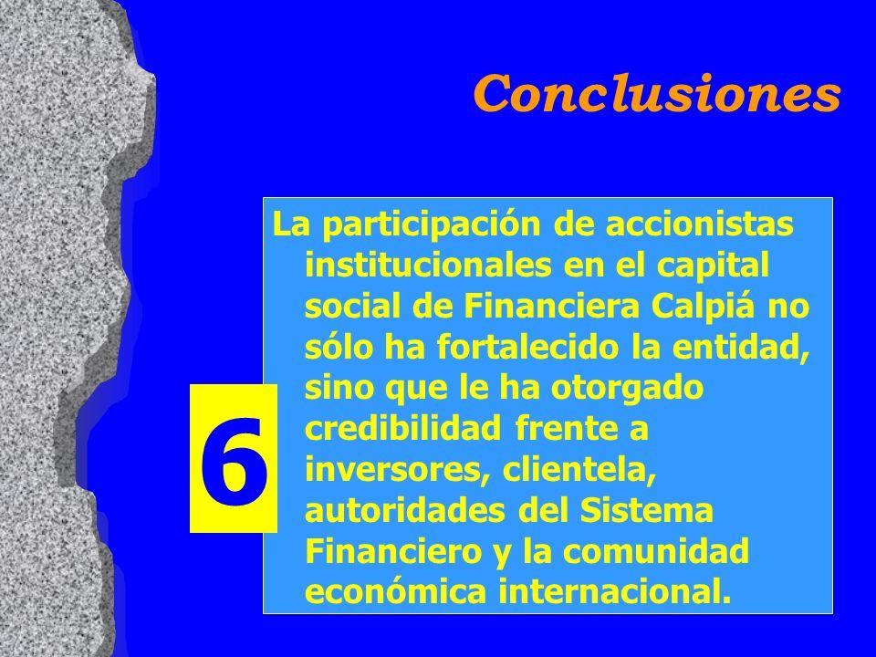 La participación de accionistas institucionales en el capital social de Financiera Calpiá no sólo ha fortalecido la entidad, sino que le ha otorgado credibilidad frente a inversores, clientela, autoridades del Sistema Financiero y la comunidad económica internacional.