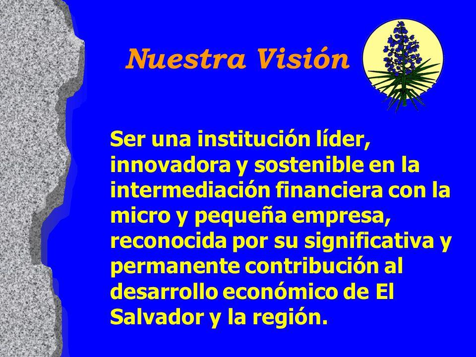 Nuestra Visión Ser una institución líder, innovadora y sostenible en la intermediación financiera con la micro y pequeña empresa, reconocida por su significativa y permanente contribución al desarrollo económico de El Salvador y la región.