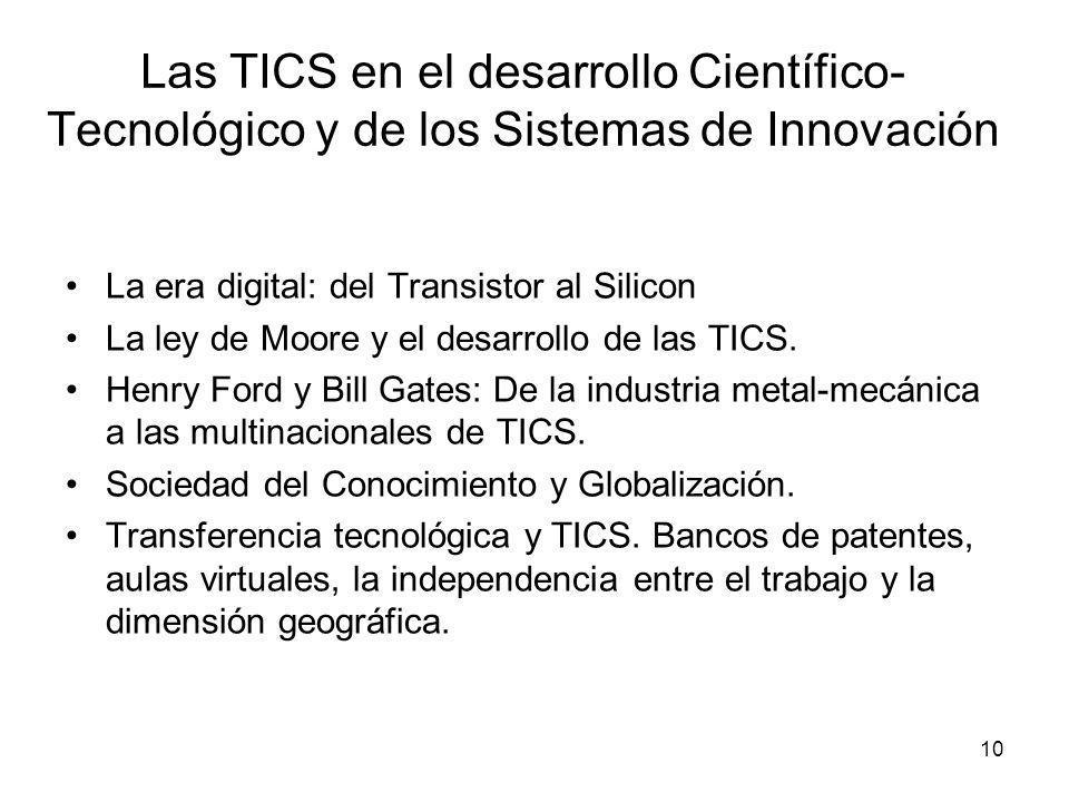 10 Las TICS en el desarrollo Científico- Tecnológico y de los Sistemas de Innovación La era digital: del Transistor al Silicon La ley de Moore y el de