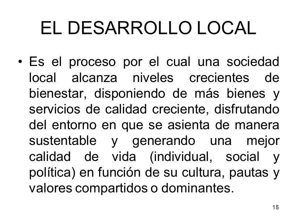 15 EL DESARROLLO LOCAL Es el proceso por el cual una sociedad local alcanza niveles crecientes de bienestar, disponiendo de más bienes y servicios de