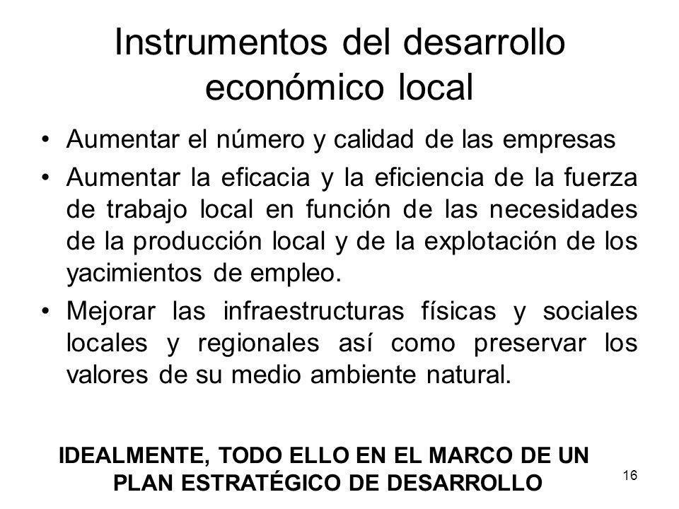 16 Instrumentos del desarrollo económico local Aumentar el número y calidad de las empresas Aumentar la eficacia y la eficiencia de la fuerza de traba
