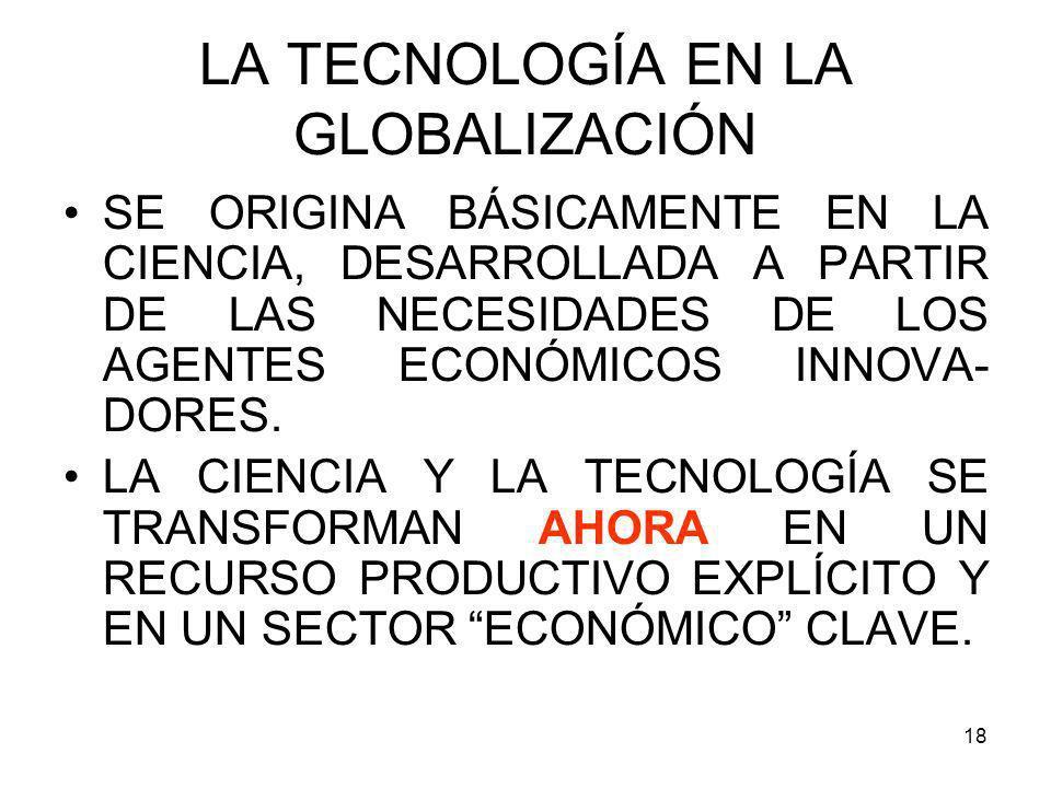 18 LA TECNOLOGÍA EN LA GLOBALIZACIÓN SE ORIGINA BÁSICAMENTE EN LA CIENCIA, DESARROLLADA A PARTIR DE LAS NECESIDADES DE LOS AGENTES ECONÓMICOS INNOVA-