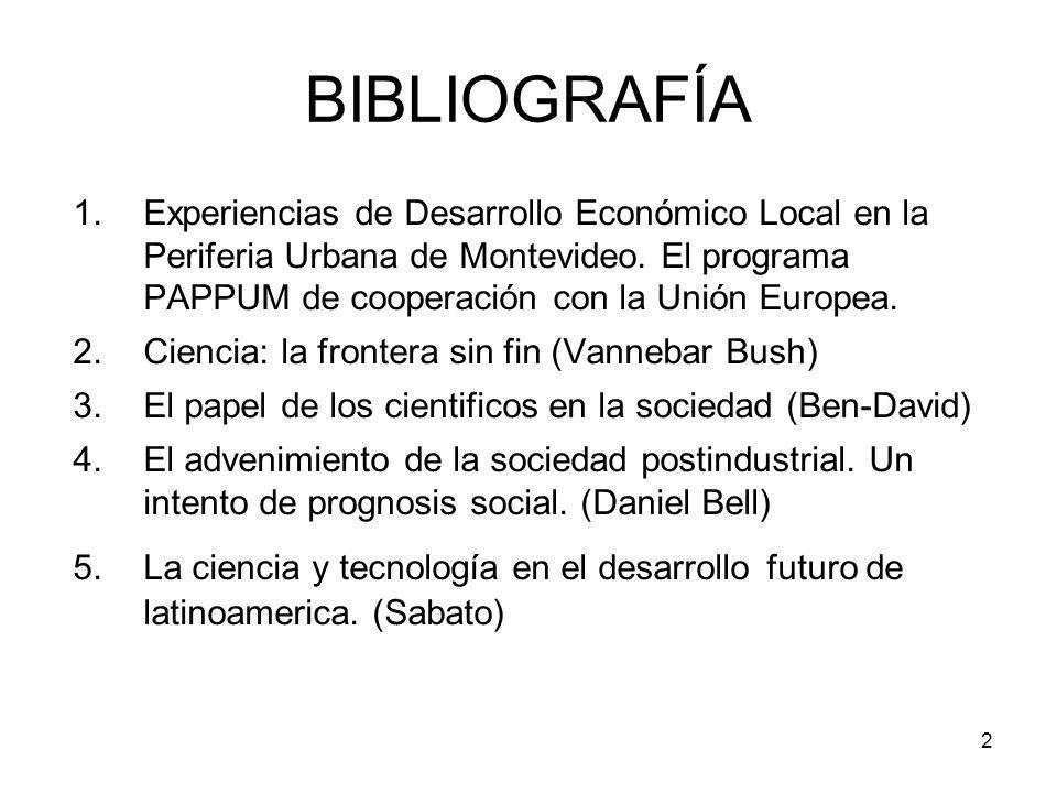 3 ESTRUCTURA DE LA PRESENTACIÓN 1.RELACIÓN CIENCIA – TECNOLOGÍA 2.RELACIÓN CIENCIA – TECNOLOGÍA – INNOVACIÓN (CTI) 3.EL PAPEL DE LA CTI EN EL DESA- RROLLO 4.DESARROLLO LOCAL.