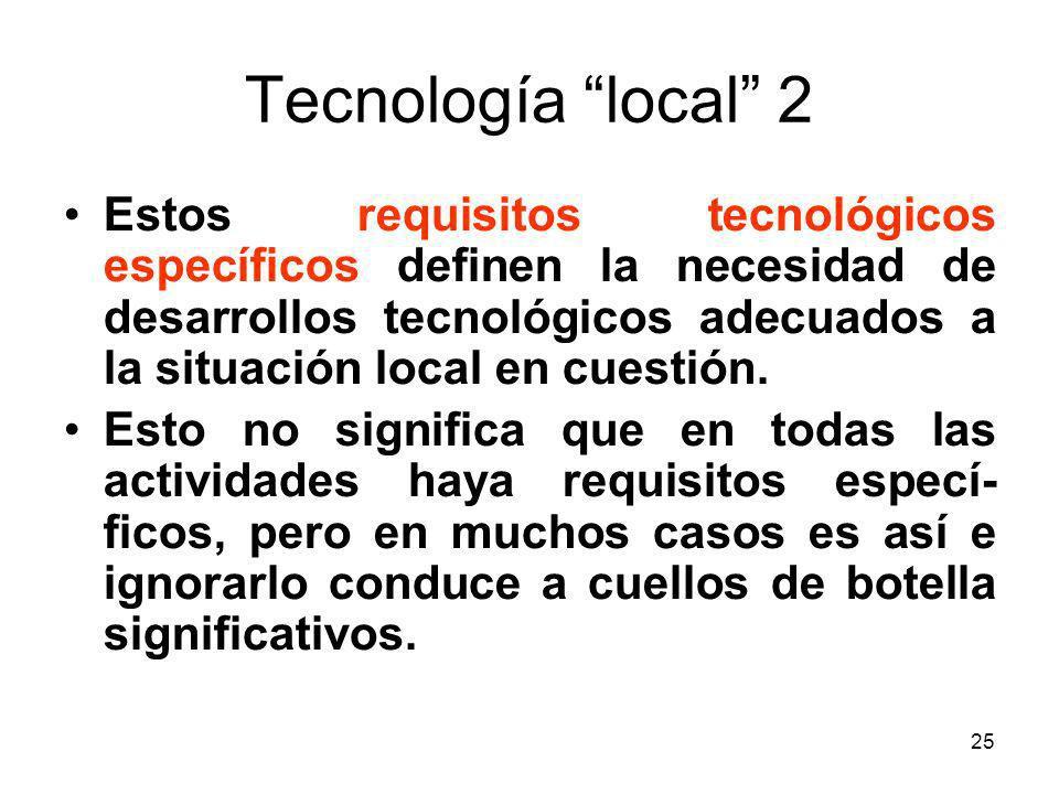 25 Tecnología local 2 Estos requisitos tecnológicos específicos definen la necesidad de desarrollos tecnológicos adecuados a la situación local en cue