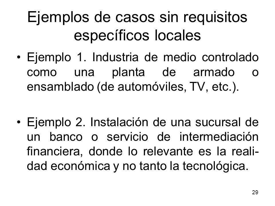 29 Ejemplos de casos sin requisitos específicos locales Ejemplo 1. Industria de medio controlado como una planta de armado o ensamblado (de automóvile