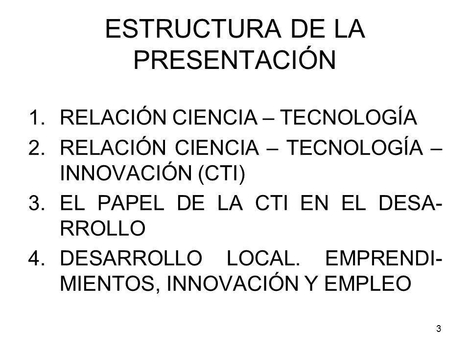 3 ESTRUCTURA DE LA PRESENTACIÓN 1.RELACIÓN CIENCIA – TECNOLOGÍA 2.RELACIÓN CIENCIA – TECNOLOGÍA – INNOVACIÓN (CTI) 3.EL PAPEL DE LA CTI EN EL DESA- RR