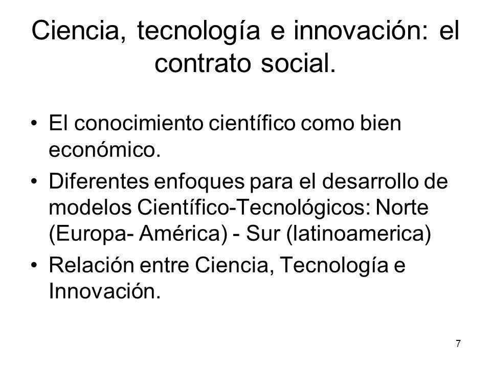 7 Ciencia, tecnología e innovación: el contrato social. El conocimiento científico como bien económico. Diferentes enfoques para el desarrollo de mode