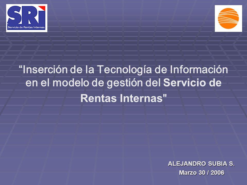 Inserción de la Tecnología de Información en el modelo de gestión del Servicio de Rentas Internas ALEJANDRO SUBIA S.