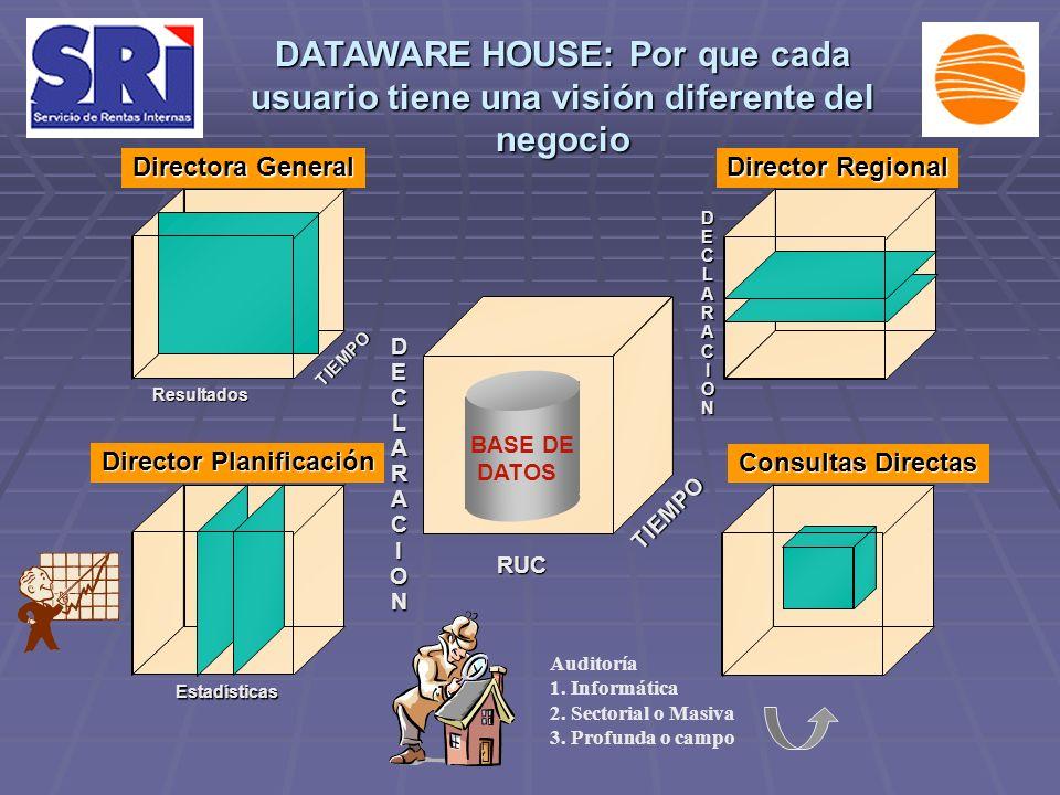 DATAWARE HOUSE: Por que cada usuario tiene una visión diferente del negocio Director Regional Director Planificación Consultas Directas Directora Gene