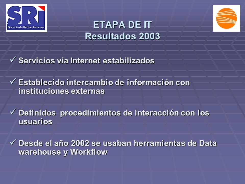 ETAPA DE IT Resultados 2003 Servicios vía Internet estabilizados Servicios vía Internet estabilizados Establecido intercambio de información con insti