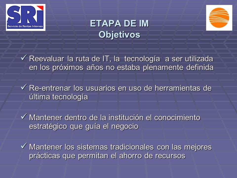 ETAPA DE IM Objetivos Reevaluar la ruta de IT, la tecnología a ser utilizada en los próximos años no estaba plenamente definida Reevaluar la ruta de I