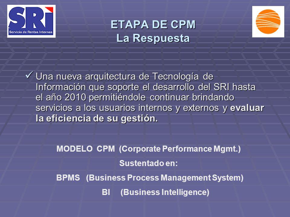 ETAPA DE CPM La Respuesta Una nueva arquitectura de Tecnología de Información que soporte el desarrollo del SRI hasta el año 2010 permitiéndole continuar brindando servicios a los usuarios internos y externos y evaluar la eficiencia de su gestión.