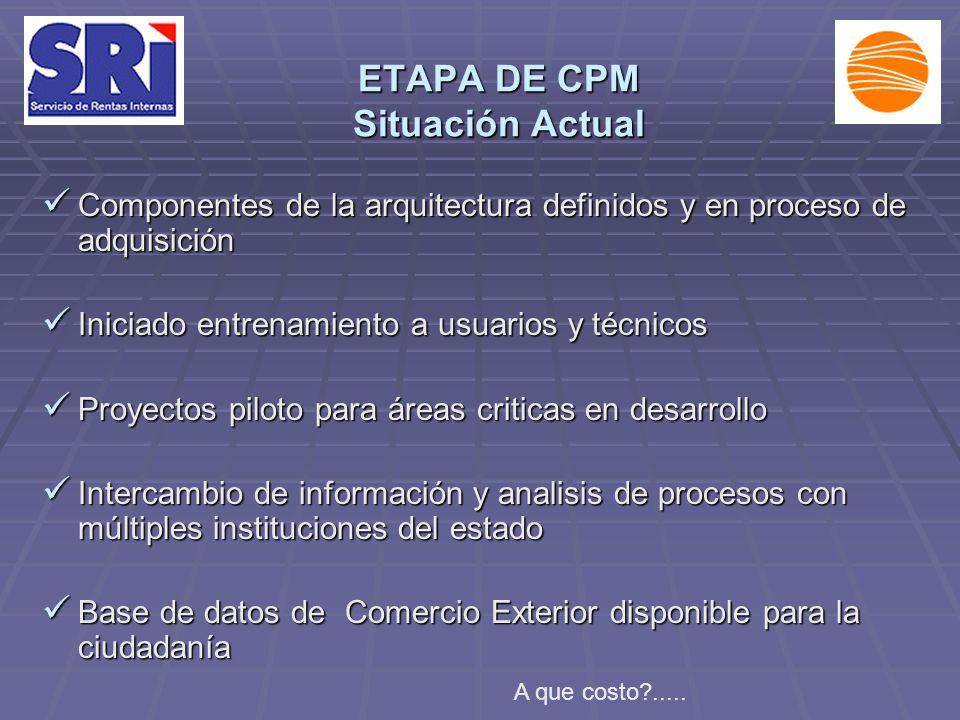 ETAPA DE CPM Situación Actual Componentes de la arquitectura definidos y en proceso de adquisición Componentes de la arquitectura definidos y en proce